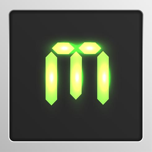 Tipo de letra del conjunto de caracteres digitales en una pantalla, ilustración vectorial