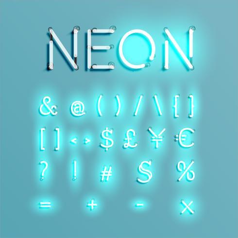 Conjunto de fuentes de carácter de neón realista, ilustración vectorial vector