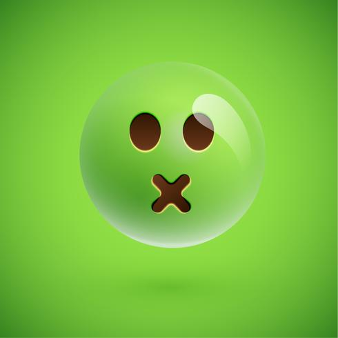 Emoticon realistico verde faccia sorridente, illustrazione vettoriale