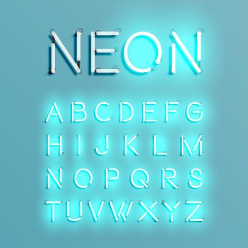 Conjunto de fontes de caracteres de néon realista, ilustração vetorial vetor