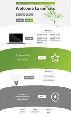Modello di sito Web moderno per affari, illustrazione vettoriale