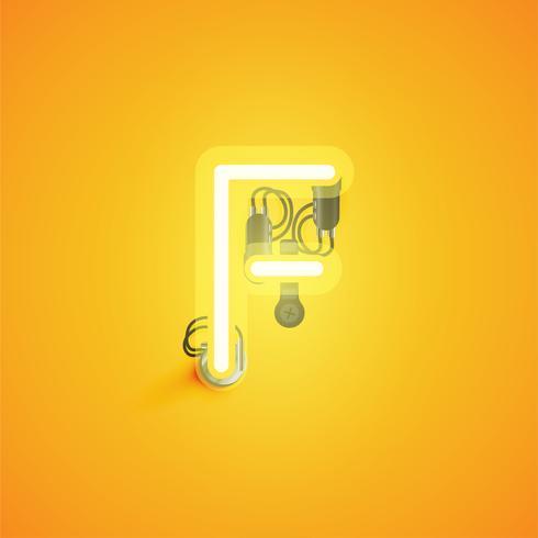 Gelber realistischer Neoncharakter mit Drähten und Konsole von einem fontset, Vektorillustration