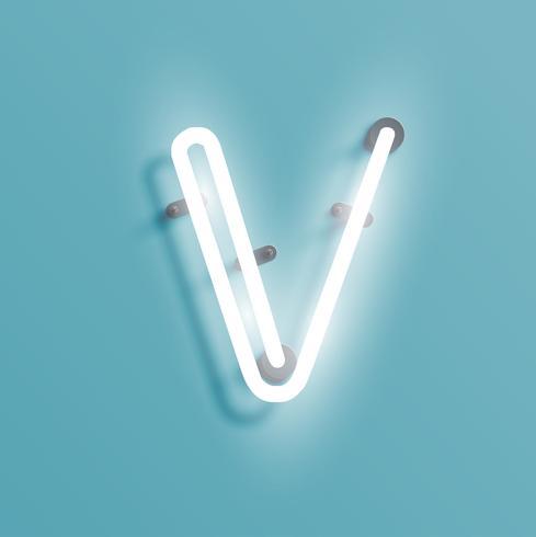 Realistischer Neoncharakter von einem fontset, vektorabbildung