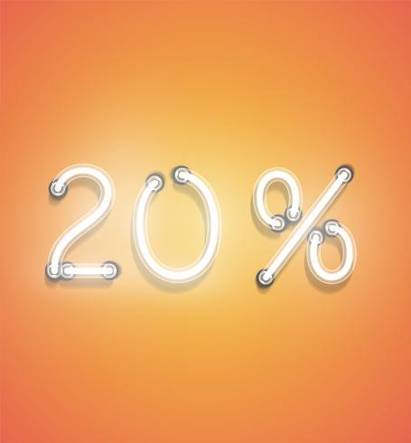 Realistiskt neon procenttal, vektor illustration