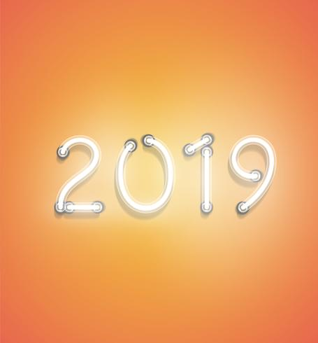 '2019' - sinal de néon realista, ilustração vetorial vetor