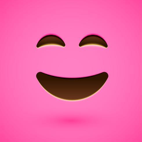 Rosto sorridente emoticon realista rosa, ilustração vetorial vetor