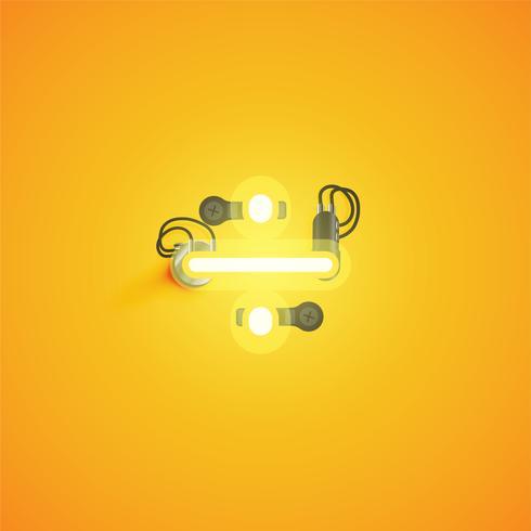 Carácter de neón realista amarillo con cables y consola de un conjunto de fuentes, ilustración vectorial vector
