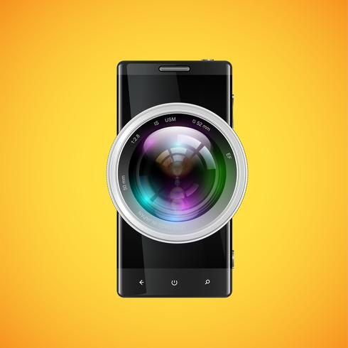 Black realistic cellphone with a camera objective, vector illustration
