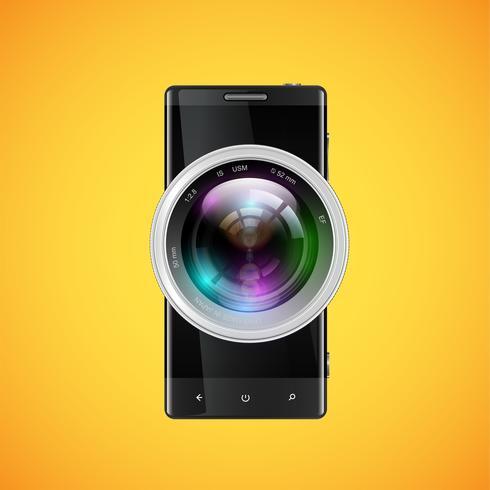 Celular realista preto com um objetivo de câmera, ilustração vetorial vetor