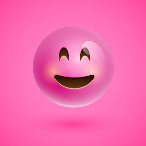 Rosto sorridente emoticon realista rosa, ilustração vetorial