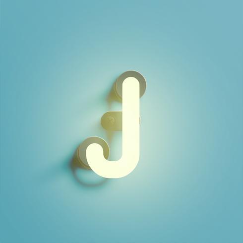 Realistisch neonkarakter van een fontset, vectorillustratie