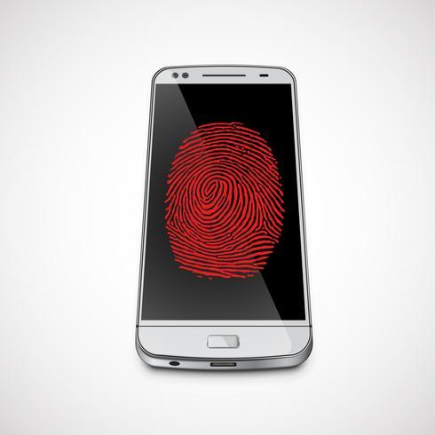 Impressão digital na tela de um smartphone realista, ilustração vetorial