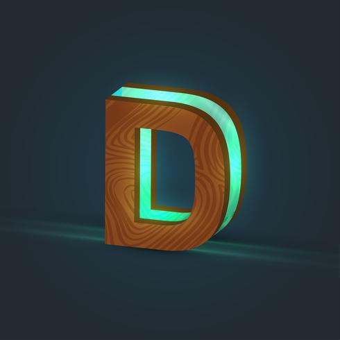 3D-, realistischer, Glas- und Holzcharakter von einem Schriftbild, Vektor