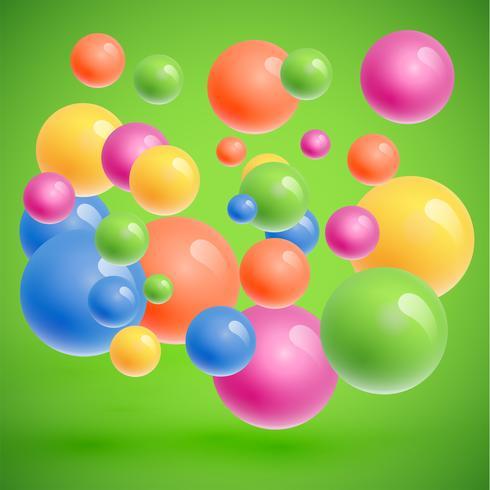 Esferas de colores flotantes, ilustración vectorial realista