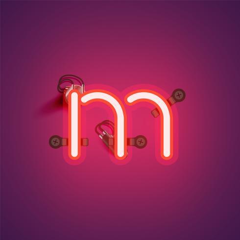 Roter realistischer Neoncharakter mit Drähten und Konsole von einem fontset, Vektorillustration