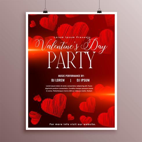 Plantilla de volante rojo bosquejo corazones día de San Valentín