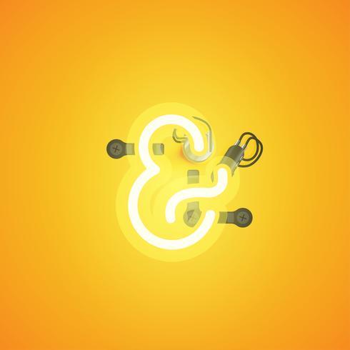 Geel realistisch neonkarakter met draden en console van een fontset, vectorillustratie