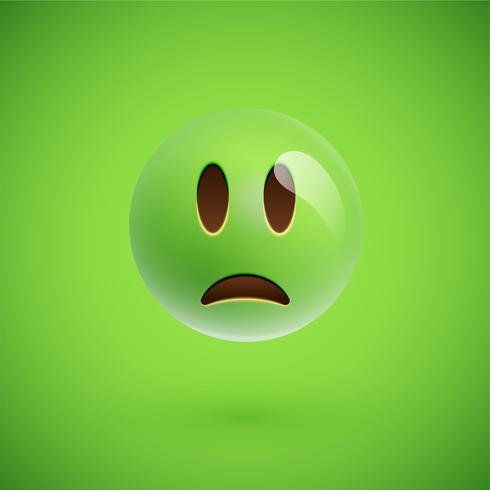 Groen realistisch emoticon smileygezicht, vectorillustratie