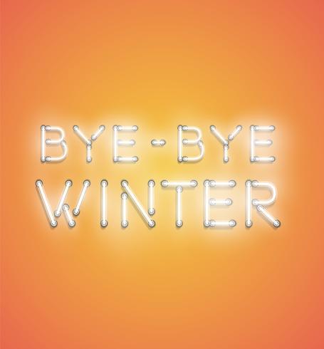 'BYE BYE WINTER' - Enseigne au néon réaliste, illustration vectorielle