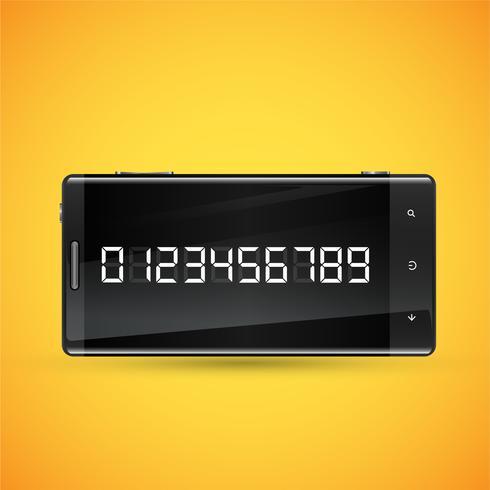 Telefone realista preto com números digitais na tela, ilustração vetorial