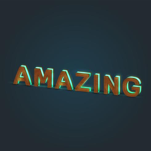 """""""AMAZING"""" - Realistisk illustration av ett ord av trä och glödande glas, vektor"""