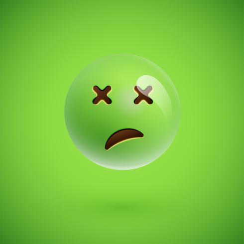 Emoticon realista verde cara sonriente, ilustración vectorial