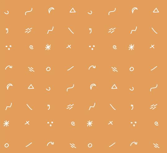 Hand drawn shapes and icons seamless pattern, vector illustration
