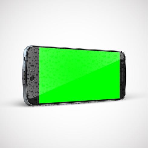 Téléphone portable humide réaliste, haute détaillé, illustration vectorielle