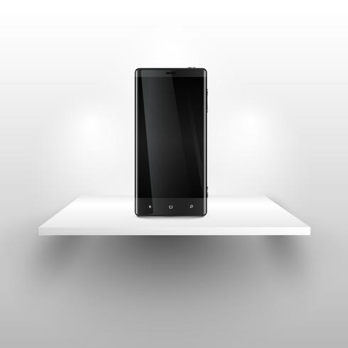 A mobile phones on a shelf, realistic vector illustration