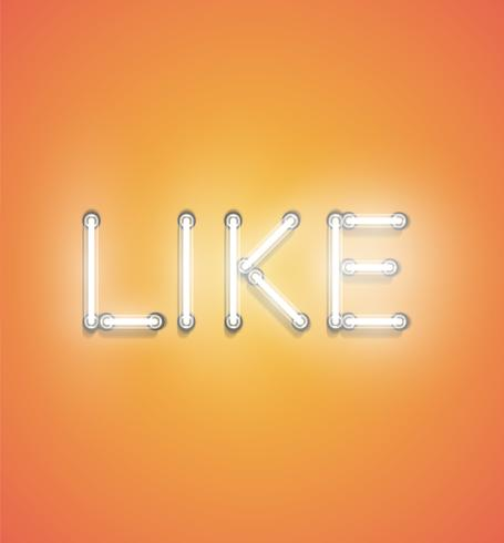 'LIKE' - Realistic neon sign, vector illustration