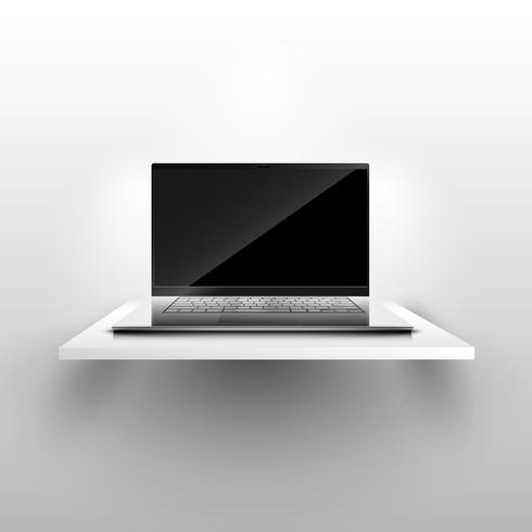 Realistisk bärbar dator på hyllan, vektor illustration
