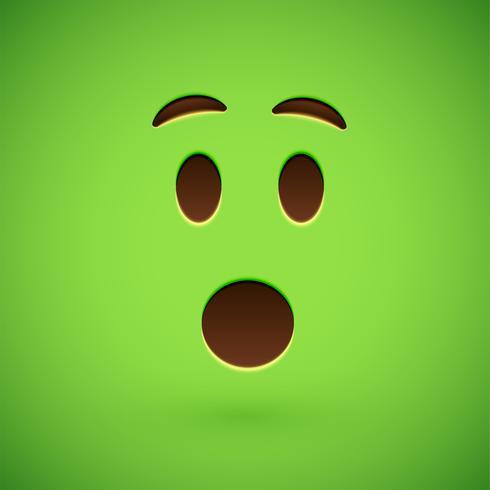Visage souriant émoticône réaliste vert, illustration vectorielle