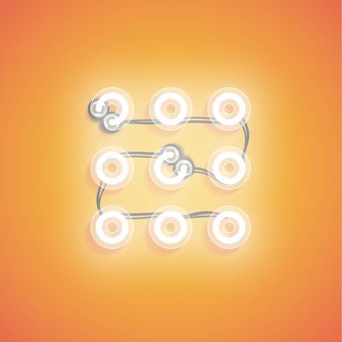 Icona al neon realistico incandescente per web, illustrazione vettoriale