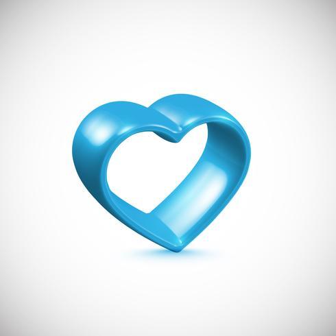 Blå 3D hjärta, vektor illustration