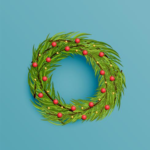 Realistic wreath with gold ribbon for Christmas, vector illustration