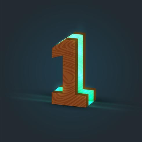 3D, realistisch, glas en houten karakter van een lettertype, vector
