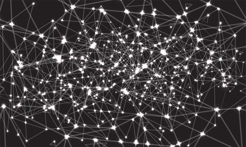 Abstrakt polygonal färgstark bakgrund med anslutna prickar och linjer, anslutningsstruktur, futuristisk hudbakgrund, högkvalitativ bild med suddiga delar vektor