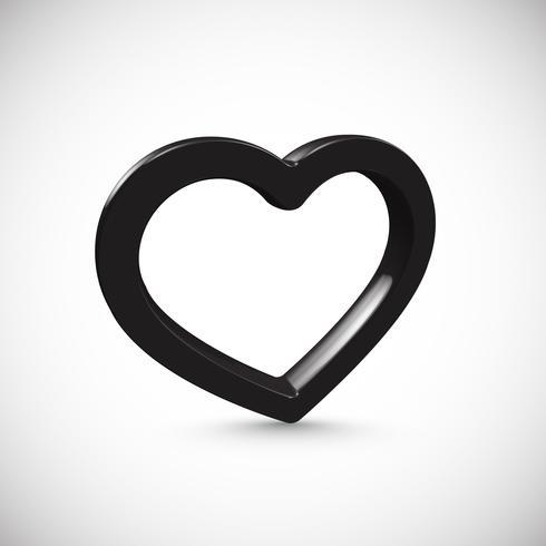 Svart 3D hjärta, vektor illustration