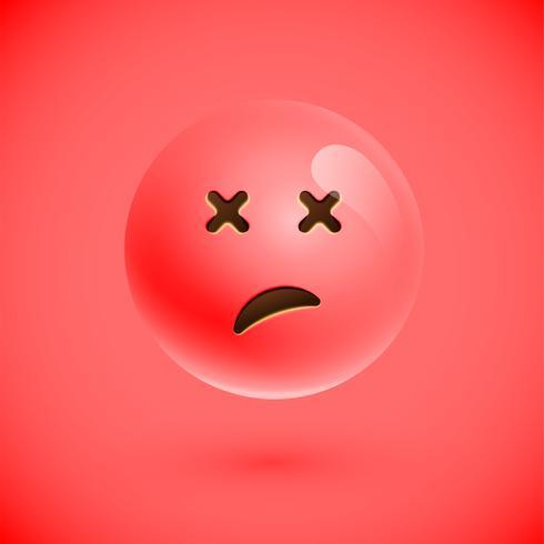 Emoticon realistico rosso faccina sorridente, illustrazione vettoriale