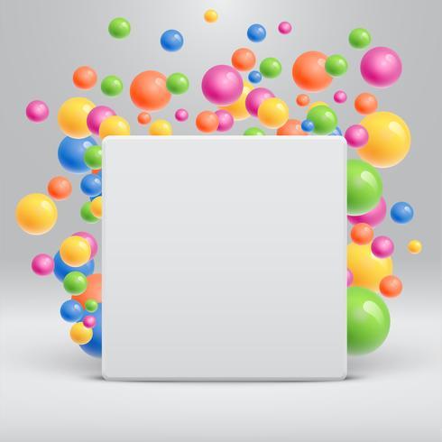 Blank vit mall med färgglada bollar flytande runt för reklam, vektor illustration