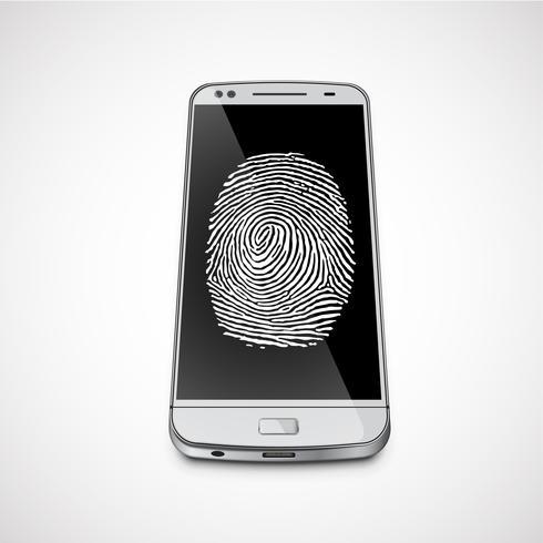 Fingeravtryck på en realistisk smartphones skärm, vektor illustration