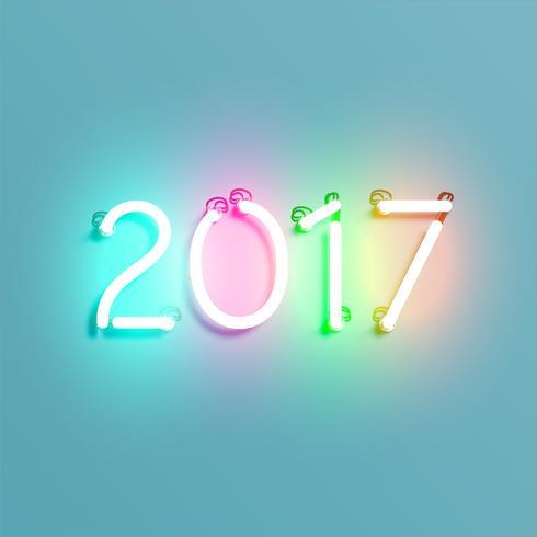 Néon 2017 brilhando sinal, ilustração vetorial