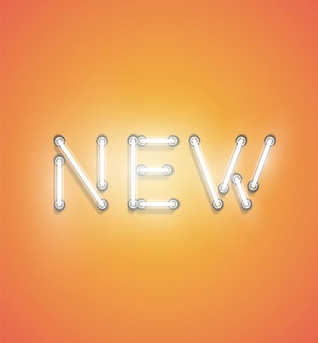 'NIEUW' - Realistisch neonteken, vectorillustratie