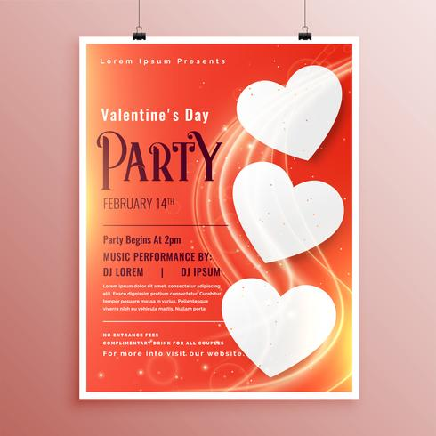 Valentinstag-Party-Event-Flyer mit leicht glühender Welle