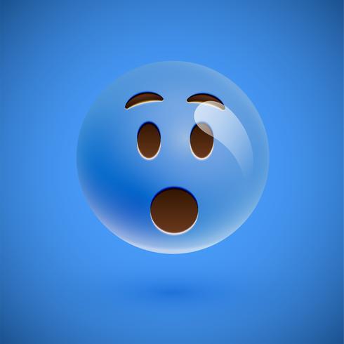 Emoticon realistico blu faccina sorridente, illustrazione vettoriale