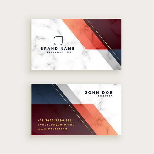 design elegante cartão de visita de mármore com formas geométricas