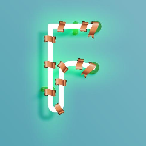 Neon typsnitt från en fontset med jul dekoration tall, vektor illustration