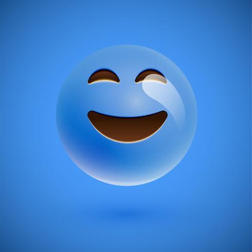 Blaues realistisches Emoticonmileygesicht, vektorabbildung