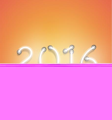 '2016' - Realistisch neonteken, vectorillustratie