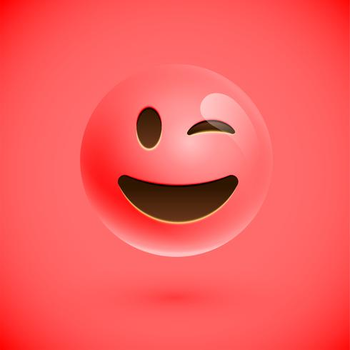 Red realistic emoticon smiley face, vector illustration
